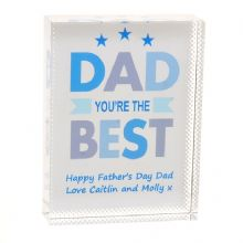 Dad You're The Best Crystal - Personalised Father's Day Keepsake Gift